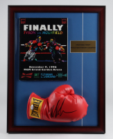Mike Tyson Signed 17x22 Custom Framed Boxing Glove Display with Full 1996 MGM Grand LeRoy Neiman Art Cover Fight Program  (PSA COA) at PristineAuction.com