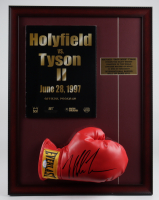 Mike Tyson Signed 17x22 Custom Framed Boxing Glove Display with Original 1997 MGM Grand Full Fight Program (PSA COA) at PristineAuction.com