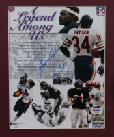 Walter Payton Signed Bears 15x19 Custom Framed Photo Display with Vintage Bears Pin (PSA LOA) at PristineAuction.com