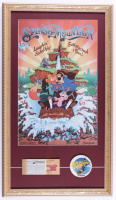"Disneyland ""Splash Mountain"" 15x26 Custom Framed Print Display with Vintage Disney World Ticket Booklet & Employee Ride Opening Lapel Pin at PristineAuction.com"