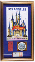Walt Disneyland 17x30 Custom Framed Print Display with Vintage Disneyland Ticket Book, Ceramic Souvenir Dish & Vintage .25 Parking Pass at PristineAuction.com