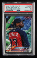 Ronald Acuna Jr. 2018 Topps Update Photo Variations #US250A Blue and Red pullover (PSA 8) at PristineAuction.com