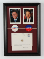 Bill Clinton & Al Gore Framed 12x17 Photo Display With Original White House Thank You Letter, Portrait Set, & (2) Original Campaign Pins at PristineAuction.com