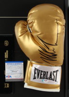 """Mike Tyson Signed 17x22 Custom Framed Boxing Glove Display With Original 1997 """"Holyfield vs Tyson II"""" MGM Fight Program (PSA COA) at PristineAuction.com"""
