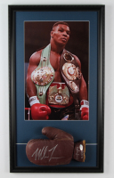 Mike Tyson Signed 16x28 Custom Framed 1950's Macgregor Boxing Glove Display (PSA COA) at PristineAuction.com