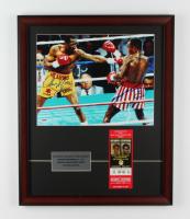 Sugar Ray Leonard & Thomas Hearns Signed 18x22 Custom Framed Photo Display With Original September 1981 Caesars Palace Fight Ticket (PSA Hologram) at PristineAuction.com