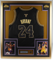 Kobe Bryant 32x36 Custom Framed Jersey Display with Official Kobe Bryant Commemorative Lapel Pin at PristineAuction.com