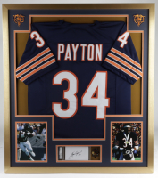 Walter Payton Signed 34x38 Custom Framed Jersey Display with Super Bowl XX Lapel Pin (PSA Encapsulated) at PristineAuction.com