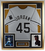 Michael Jordan 33x37 Custom Framed Jersey Display with #45 Barons Pin at PristineAuction.com