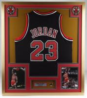 Michael Jordan 32x36 Custom Framed Jersey Display with Windy City Bulls Pin at PristineAuction.com