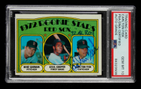 """Carlton Fisk Signed 1972 Topps #79 Rookie Stars Mike Garman / Cecil Cooper RC Inscribed """"72' AL ROY"""" (PSA Encapsulated) at PristineAuction.com"""