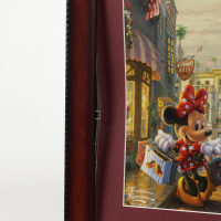 """Thomas Kinkade Walt Disney's """"Mickey & Minnie Mouse In Beverly Hills"""" 16x16 Custom Framed Print Display (See Description) at PristineAuction.com"""
