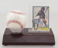 Vida Blue Signed ONL Baseball & Card Set Display (JSA COA) at PristineAuction.com