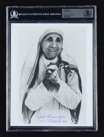 """Mother Teresa Signed 8x10 Photo Inscribed """"God Bless You"""" (BGS Encapsulated) (See Description) at PristineAuction.com"""