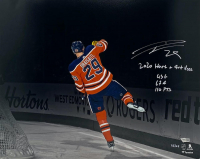 """Leon Draisaitl Signed LE Oilers 16x20 Photo Inscribed """"2020 Hart & Art Ross"""" & """"43 G 67A 110 PTS"""" (Fanatics Hologram) at PristineAuction.com"""