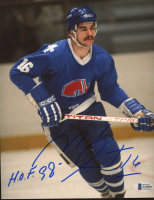 """Michel Goulet Signed Nordiques 8x10 Photo Inscribed """"H.O.F. 98"""" (Beckett COA) at PristineAuction.com"""