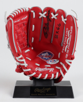 """Pete Rose Signed Mini Reds Logo Glove With Display Stand Inscribed """"2x G.G."""" (PSA COA) at PristineAuction.com"""