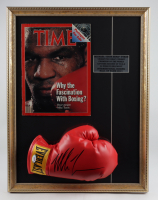 Mike Tyson Signed 17x22 Custom Framed Boxing Glove Display With Original 1988 TIME Magazine (PSA COA) at PristineAuction.com