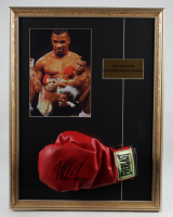 Mike Tyson Signed 17x22 Custom Framed Boxing Glove Display With Textured Art Print (PSA COA) at PristineAuction.com