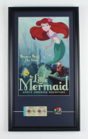"""Disney World """"The Little Mermaid"""" 15x26 Custom Framed Print Display with Vintage Disney World Ticket Book & Ariel Ride Lapel Pin at PristineAuction.com"""