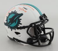 "Mercury Morris Signed Dolphins Lunar Eclipse Alternate Speed Mini Helmet Inscribed ""Perfect Season 72 / 17-0"" (Beckett Hologram) (See Description) at PristineAuction.com"