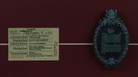 "Disneyland ""Haunted Mansion"" 15x26 Custom Framed Print Display with Vintage Ticket Booklet & Haunted Mansion Resin Souvenir Emblem at PristineAuction.com"
