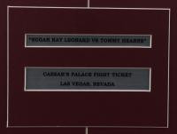 Sugar Ray Leonard & Thomas Hearns Signed 18x22 Custom Framed Photo Display With Original September 1981 $300 Caesars Palace Fight Ticket (PSA Hologram) at PristineAuction.com