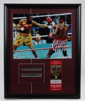 Sugar Ray Leonard & Thomas Hearns Signed 18x22 Custom Framed Photo Display With Original September 1981 $200 Caesars Palace Fight Ticket (PSA Hologram) at PristineAuction.com