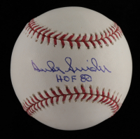 "Duke Snider Signed OML Baseball Inscribed ""HOF 80"" (MLB Hologram & Schulte Sports Hologram) at PristineAuction.com"