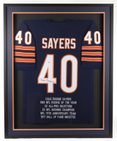 Gale Sayers Signed 34.5x42.5 Custom Framed Stat Jersey (PSA COA) at PristineAuction.com