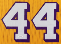 Jerry West Signed 34x42 Custom Framed Jersey Display with (5) Career Stat Inscriptions (JSA COA) at PristineAuction.com