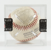 1973 Mets ONL Baseball Team-Signed by (29) with Willie Mays, Tom Seaver, Cleon Jones, Jim McAndrew, Tug McGraw, Ed Kranepool, Felix Millan with Display Case (SportsCards LOA) at PristineAuction.com