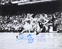Jerry West & Bob Cousy Signed 16x20 Photo with Multiple Stat Inscriptions (JSA COA) at PristineAuction.com
