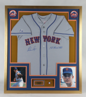 """Nolan Ryan Signed 32x36 Custom Framed Jersey Display Inscribed """"1969 Miracle Mets"""" with Ryan Hall Of Fame Pin (PSA COA) (See Description) at PristineAuction.com"""