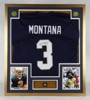 Joe Montana Signed 32x36 Custom Framed Jersey Display with Vintage Notre Dame Fighting Irish Lapel Pin (JSA COA) at PristineAuction.com