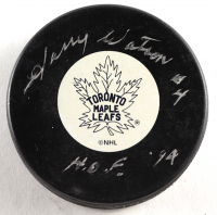 """Harry Watson Signed Maple Leafs Logo Hockey Puck Inscribed """"HOF 94"""" (Schwartz COA) at PristineAuction.com"""