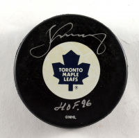 """Borje Salming Signed Maple Leafs Logo Hockey Puck Inscribed """"HOF 96"""" (Schwartz COA) at PristineAuction.com"""