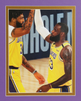 LeBron James 32x36 Custom Framed Jersey Display with Lakers 17x NBA Champions Pin at PristineAuction.com