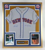 """Nolan Ryan Signed 32x36 Custom Framed Jersey Display Inscribed """"1969 World Champs"""" with 1969 World Series Pin (PSA COA) at PristineAuction.com"""