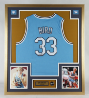 Larry Bird Signed 32x36 Custom Framed Jersey Display with Indiana State Sycamores Pin (PSA COA & Bird Hologram) (See Description) at PristineAuction.com