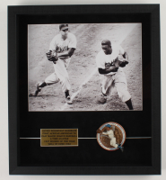 Jackie Robinson Dodgers 17.75x19.75 Custom Framed Shadowbox Display With Figure at PristineAuction.com