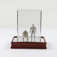 """Set of (2) Original 1977 Hasbro """"Star Wars"""" Action Figures with R2D2 & C-3PO with Display Case at PristineAuction.com"""