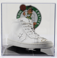 Larry Bird Signed Converse Leather Basketball Shoe with Display Case (PSA COA) at PristineAuction.com