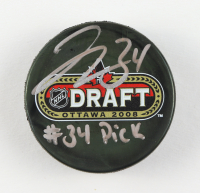 "Jake Allen Signed 2008 Draft Logo Hockey Puck Inscribed ""#34 Pick"" (Fanatics Hologram) at PristineAuction.com"