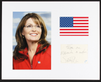 """Sarah Palin Signed 16x20 Custom Matted Photo Display Inscribed """"From One Maverick To Another"""" (ACOA COA) at PristineAuction.com"""