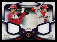 Shohei Ohtani / Mike Trout 2021 Topps Tribute Dual Player Relics Purple #DR2OT #47/50 at PristineAuction.com
