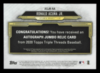 Ronald Acuna Jr. 2020 Topps Triple Threads Single Jumbo Relic Autographs Amethyst #ASJRRA #50/75 at PristineAuction.com