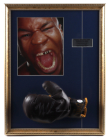 Mike Tyson Signed 17x22 Custom Framed Vintage Everlast Leather Boxing Glove Display (PSA COA) at PristineAuction.com