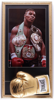 Mike Tyson Signed 16x30 Custom Framed Boxing Glove Display (PSA COA) (See Description) at PristineAuction.com