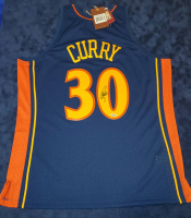Stephen Curry Signed Warriors 32x41 Custom Framed Jersey Display with LED Lights (Fanatics Hologram) at PristineAuction.com